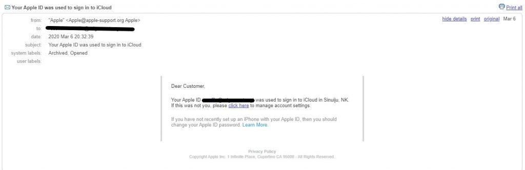 This phishing attack fakes an Apple ID login attempt