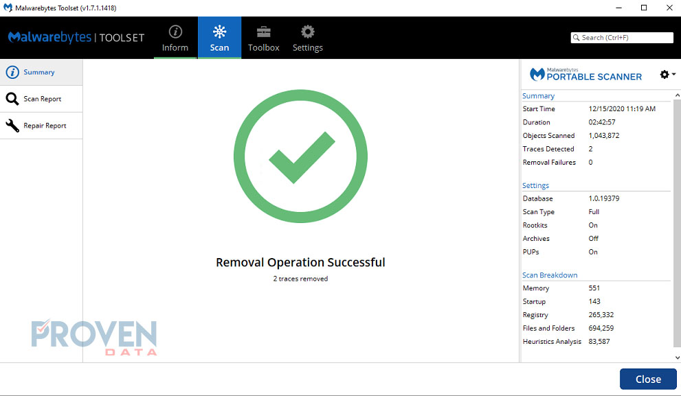 Ransomware removal scan complete